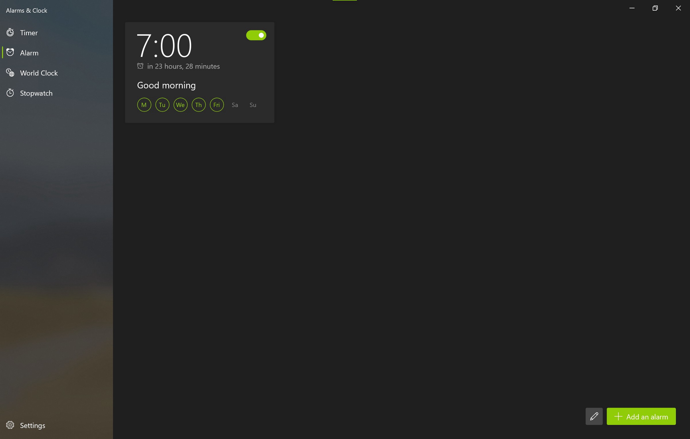 微软更新Windows 10附带的闹钟和时钟应用 带来更好的界面和视觉效果
