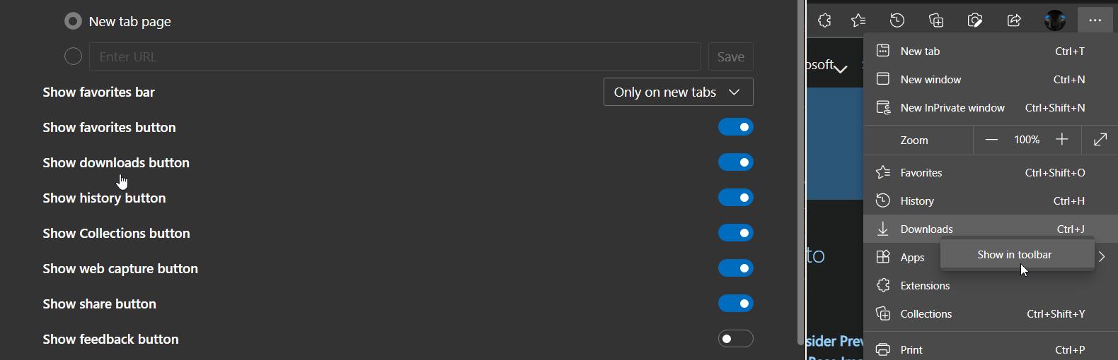 微软为Microsoft Edge带来新的下载菜单 可以直接弹出快速操作