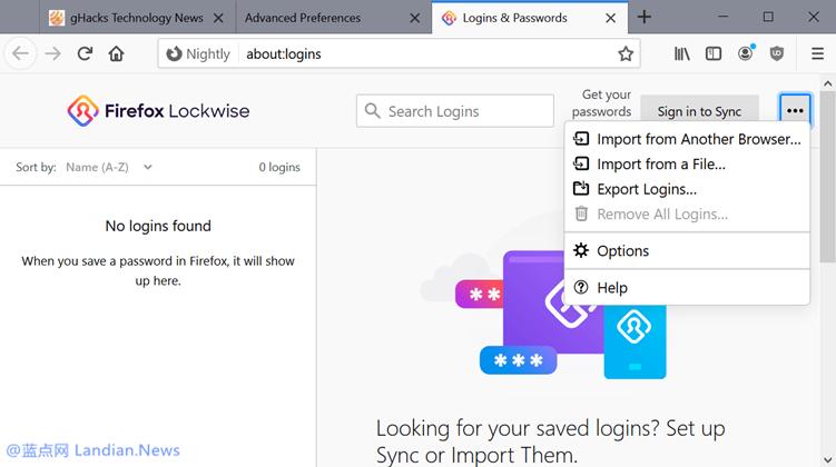 火狐浏览器终于支持从其他密码管理器或表单文件里导入账号密码