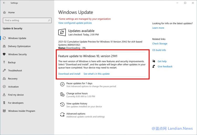 微软面向测试通道推出Windows 10 21H1预览版 主要是系统内部改进