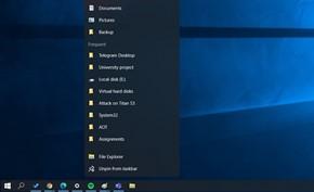 除开始菜单外微软还通过太阳谷项目为Windows 10开发浮动任务栏菜单