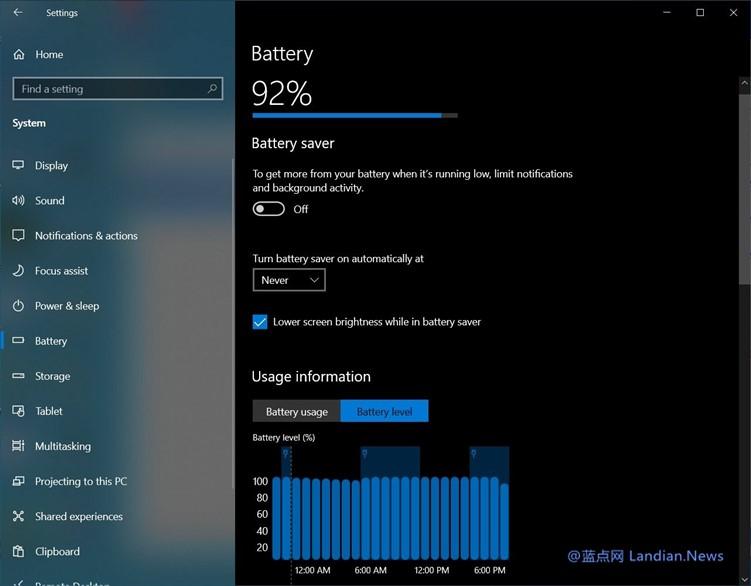 仔细看看Windows 10新增的电池设置 帮助你统计哪些软件耗电量最大