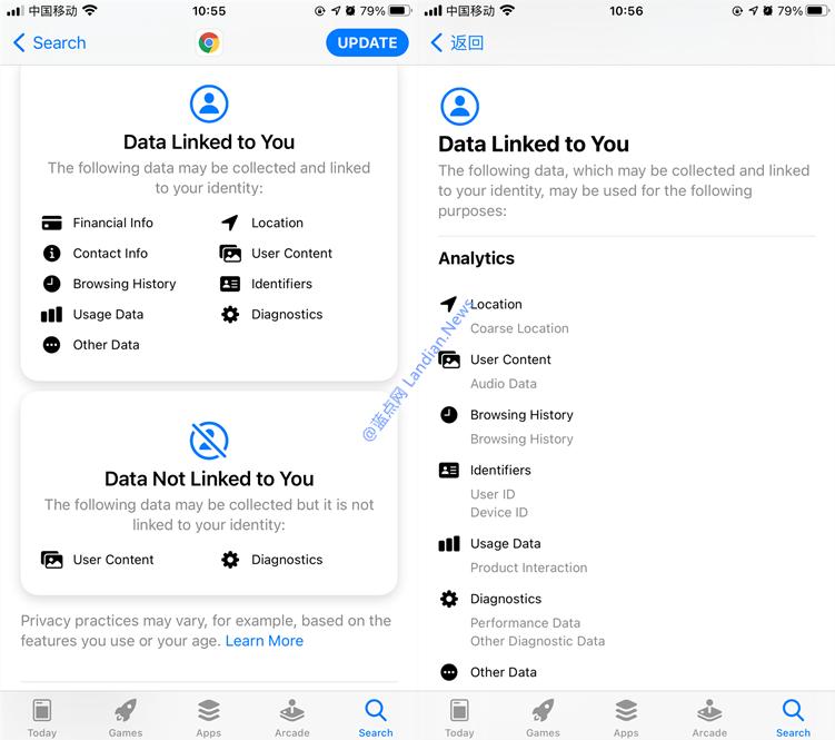 自去年11月以来iOS版谷歌浏览器首次更新 终于按苹果要求添加数据收集标签