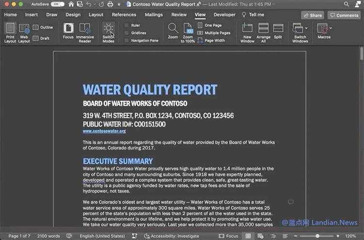 Mac版Word现已支持深浅色模式切换 切换后内容支持自适应换色