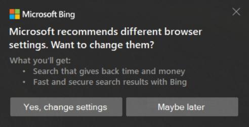 微软利用浏览器在桌面上弹出广告推荐用户将必应设置为默认搜索引擎