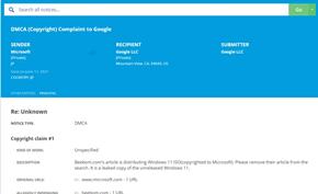 这可能是微软首次承认有Windows 11版:微软要求托管网站删除泄露镜像