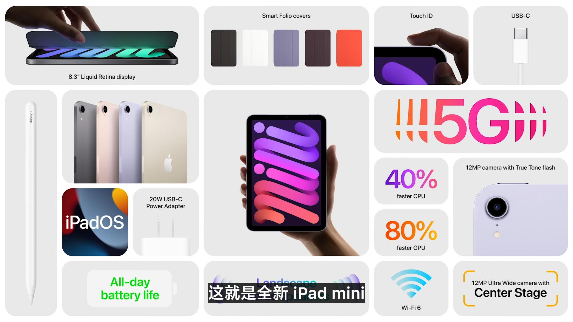 苹果推出iPad mini 6采用全面屏设计支持指纹识别 采用USB-C支持5G