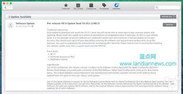 苹果今日发布OS X Yosemite 10.10.1第一个测试版14B17