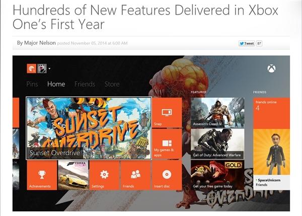 微软:今年Xbox One更新了102项功能