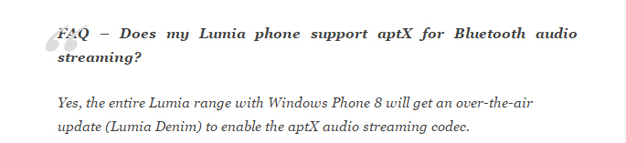 Lumia Denim 或将来高质蓝牙音频流