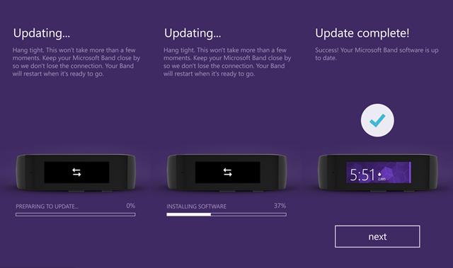 Microsoft Band固件和微软健康应用均有小幅更新