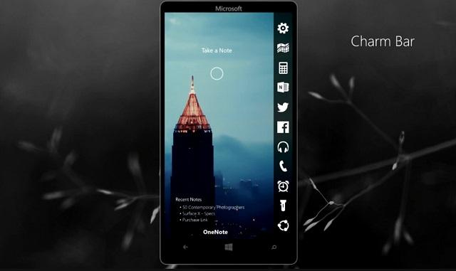 "Charm Bar回归:""脑洞大开""的Windows 10 手机版概念设计"