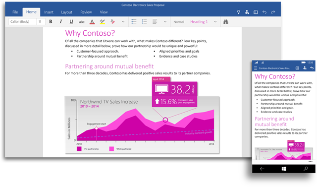 Office for Windows 10 预览版应用发布