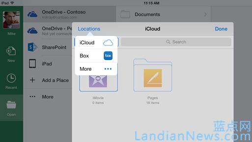 Office支持iCloud等更多云存储服务 云存储服务也可接入Office Online