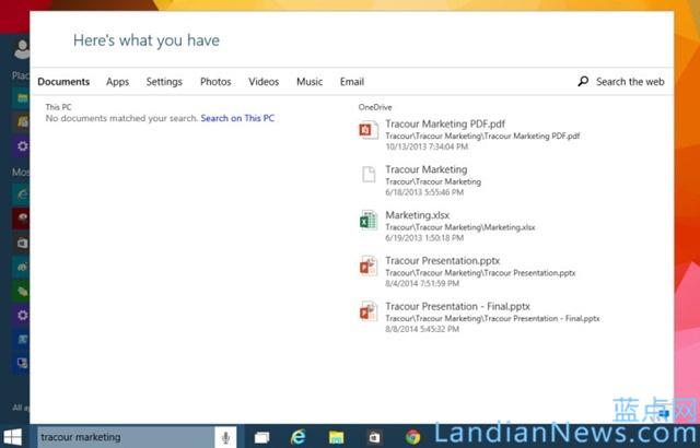 传 Windows 10 搜索界面将内置到开始菜单 [来源:蓝点网 地址:https://www.landiannews.com]