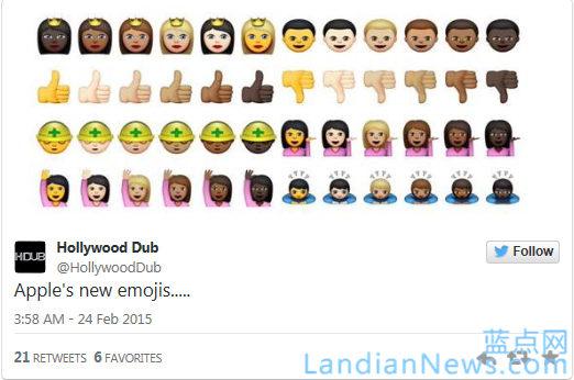 苹果iOS 8.3新增表情可选肤色 [来源:蓝点网 地址:https://www.landian.vip]