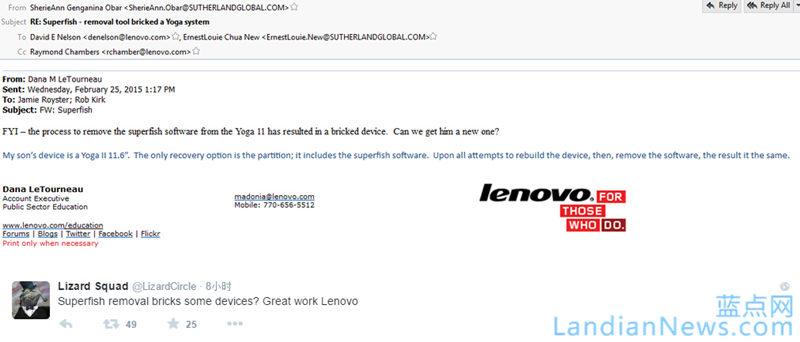 联想官网被黑波及内部邮件 黑客组织Lizard Squad称将放出更多精彩内容 [来源:蓝点网 地址:https://www.landiannews.com]