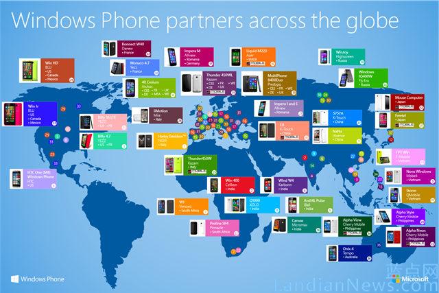 微软官方博客发布Windows Phone OEM手机分布图