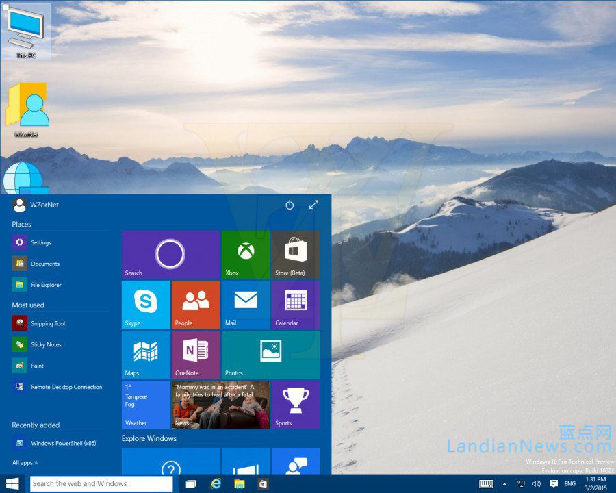 WZor泄露Windows 10 Build 10022更多截图 不过没啥好看的