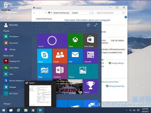 从Windows 10 Build 10031看新版登陆界面及透明的开始菜单