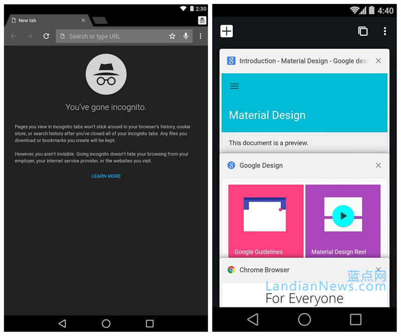 Google Chrome for Android更新:针对Android 5.0多项改进 [来源:蓝点网 地址:http://www.landiannews.com]