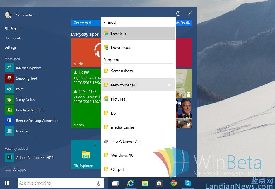Windows 10 Build 10041:通过修改注册表将跳转列表加入开始菜单