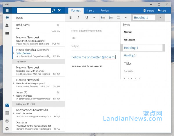 [画廊]Windows 10 Build 10051:Outlook邮件应用多图预览 [来源:蓝点网 地址:https://www.landian.vip]