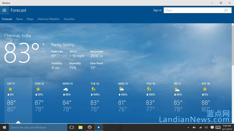 Windows 10 Build 10056添加了全新的天气应用