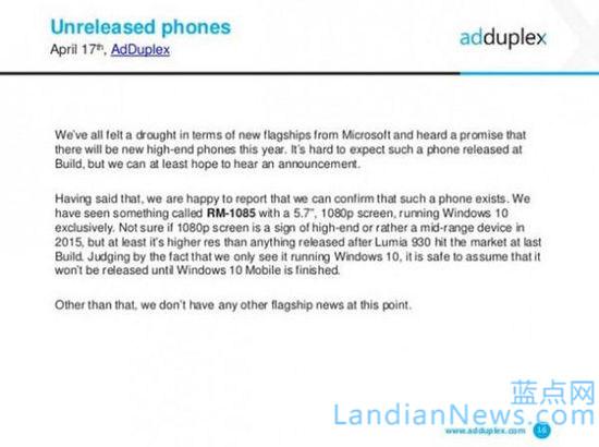 AdDuplex曝光一款新的Lumia设备 分辨率1080P