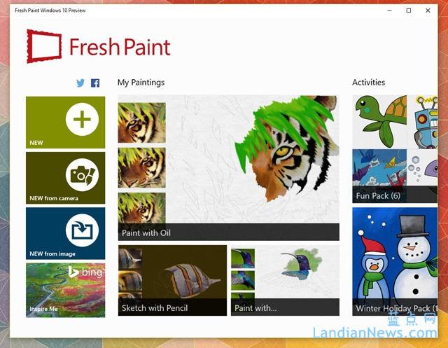 微软发布Windows 10版的Fresh Paint预览版