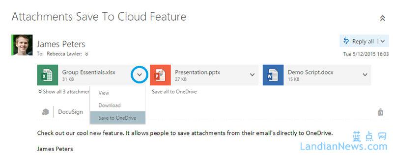 Outlook网页版应用更新:可将邮件附件直接保存到OneDrive for Business中