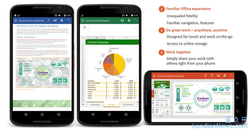 为触控设备而生:微软为Android平台发布Word、Excel和PowerPoint Preview